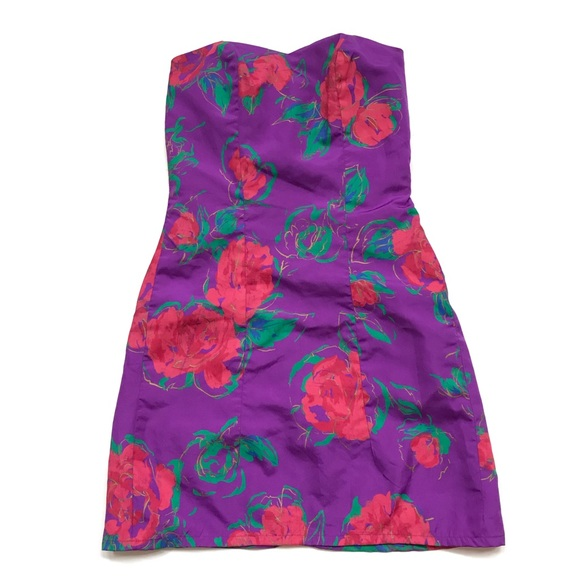 Vintage J Reynolds strapless floral mini dress 80s